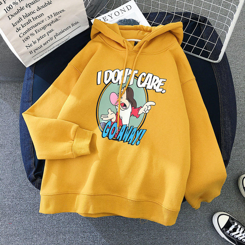 Zuolunouba 019 Fashion New Cute Cartoon Funny Witch Yellow Hoodie Ladies Warm Long Sleeved Printed Pullover Women Cloting Hoodie