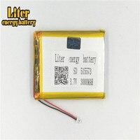 Conector de 1.25 MILÍMETROS 2pin 3.7V 515573 3000mah Recarregável bateria lipo e-livros GPS PDA bateria de polímero de lítio