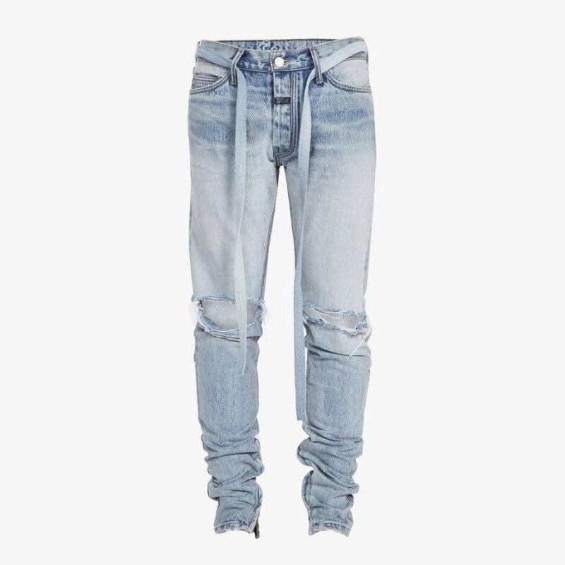 High Quality Justin Bieber Vintage Indigo Slim Jeans Denim Belted Biker Jeans Rubberized Patch At Waistband