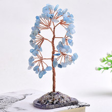 100% Natural Crystal Gravel Specimen Stone Money Tree Feng Shui Ornaments Tree of Life Figurines & Agate Slice Stand Home Decor