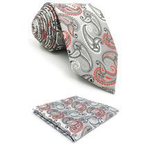 F4 Silver Grey Paisley Mens Tie Set Ties Silk Pocket Square Party Wedding XL
