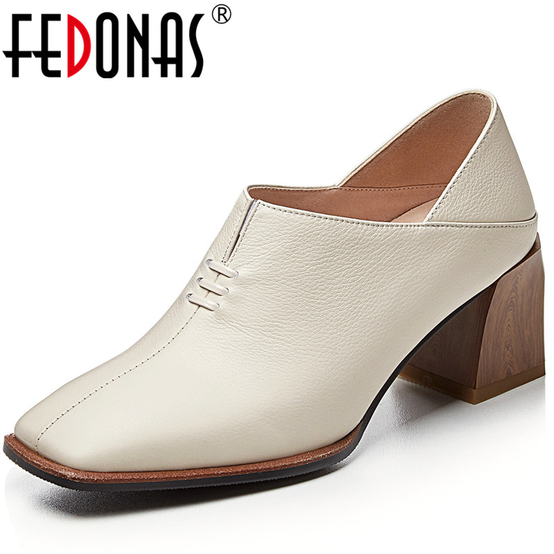 FEDONAS Women Pumps Cow Leather Square Toe Slip On Classic Design Basic Shoes Working Vintage Shoes Spring Summer Shoes Woman