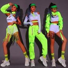 Nowe ubrania do tańca na rurze kobiety fluorescencyjny zielony taniec Hip Hop kostiumy garnitur Sexy klub nocny kobiet Dj kostiumy sceniczne DQS6035