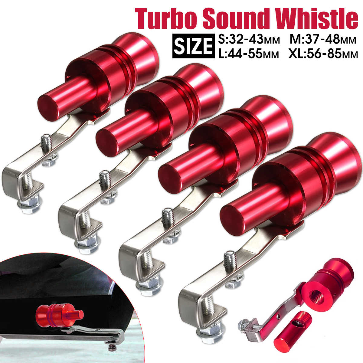 Universele Rode Motorfiets Auto Bov Escape Pijp Turbo Sound Whistle Simulator Geluid Pijp Uitlaat Pijp Maat S, m, L, Xl