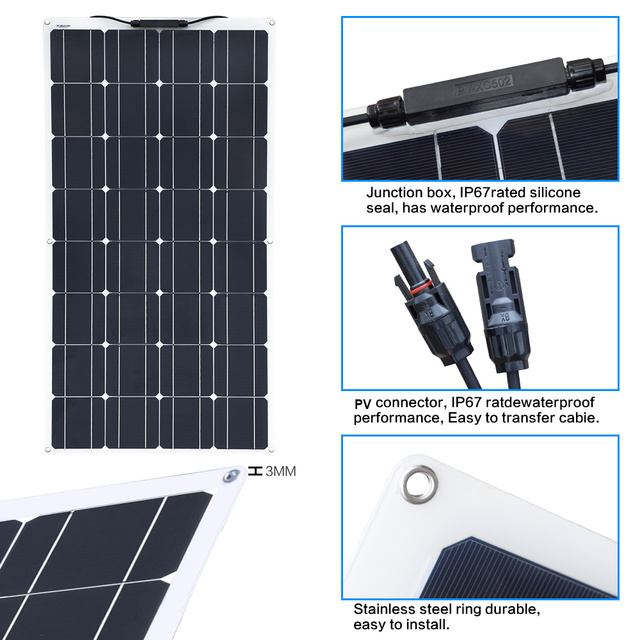 Xinpuguang Brand 100 W flexible solar panel kit 100 watt 120w for Home,Yacht, RV,Caravan, Cabin, Boat and 12v Battery Charger 2