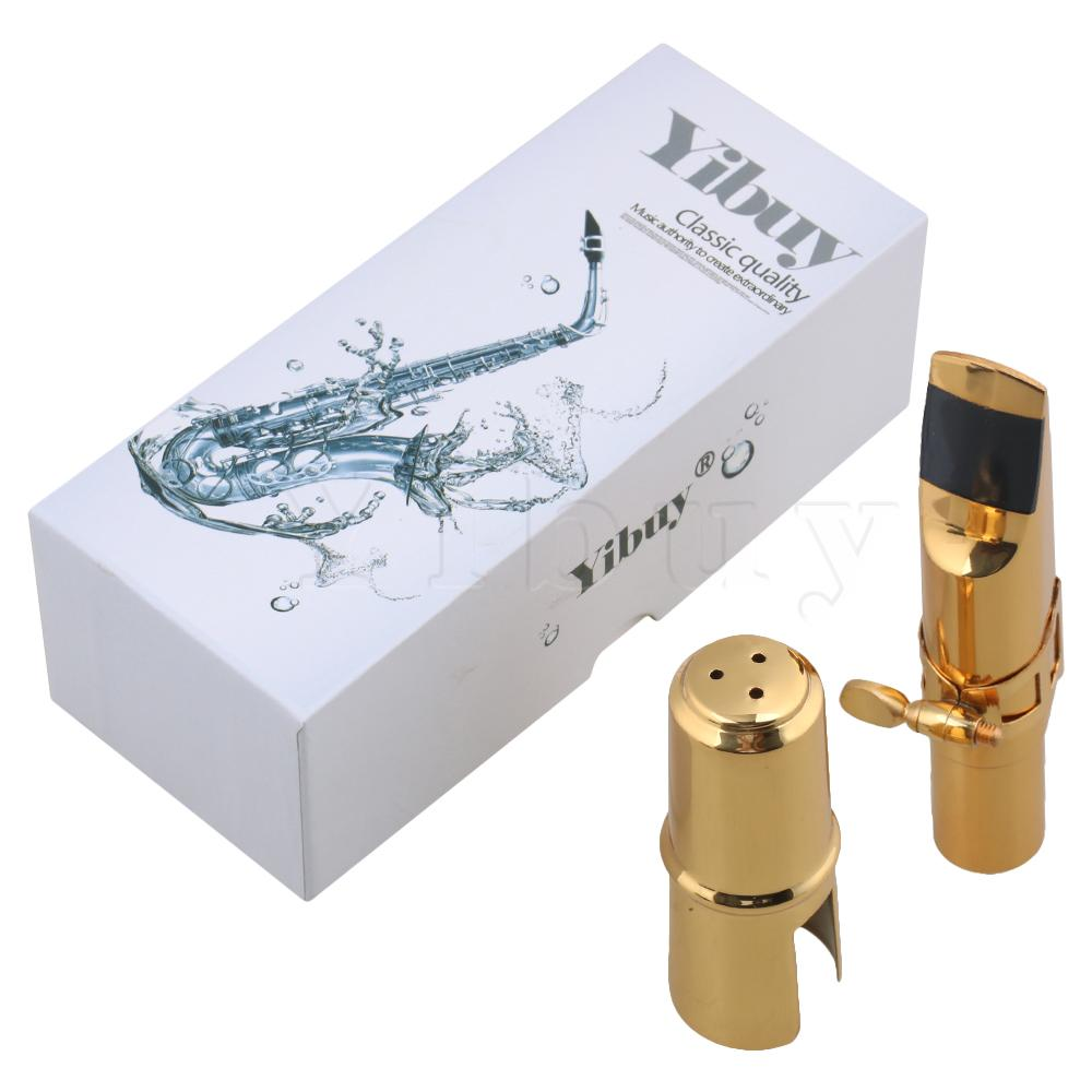 Yibuy 7# Gold B-flat Tenor Saxophone Mouthpiece With Mouthpiece Cap+Square Buckle