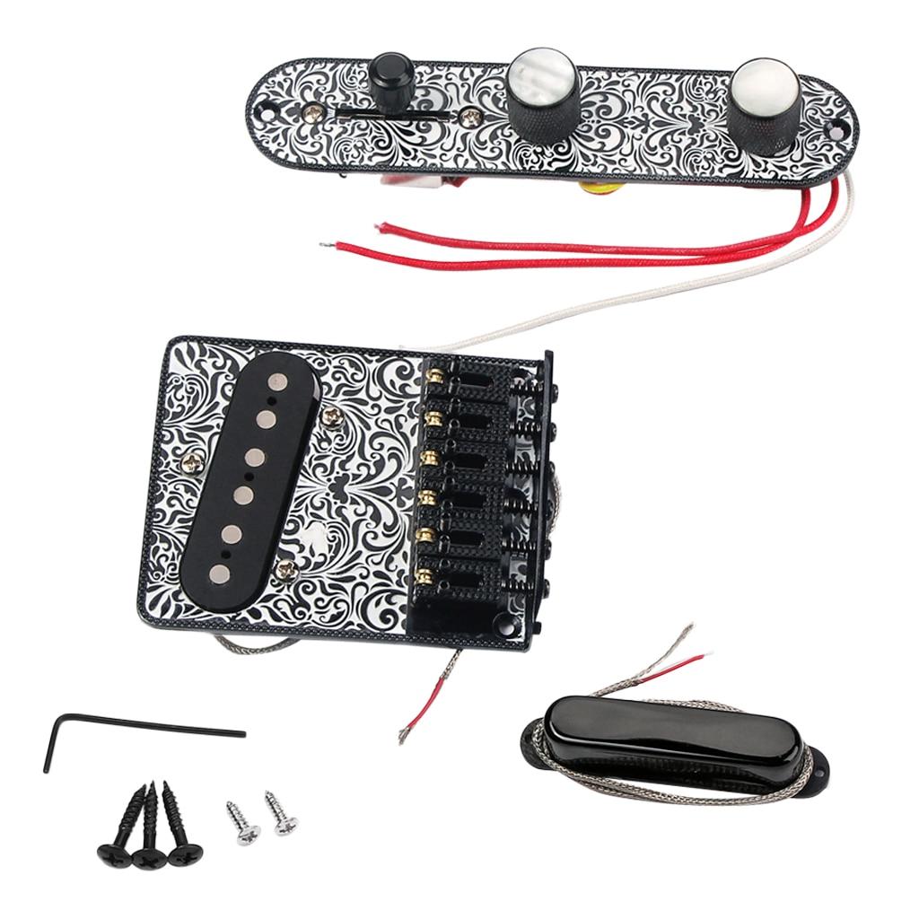 1 Set 6 Snarige Elektrische Gitaar Zadel Brug Staartstuk Hardtail + Wired Controle Plaat + Hals Pickup Black Luthier Supply - 6