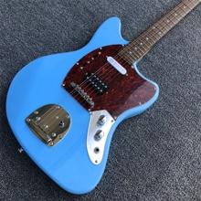 Высокое качество синий цвет 6 струн st электрогитара, Фабрика магазин фен твердой древесины ST гитара ra