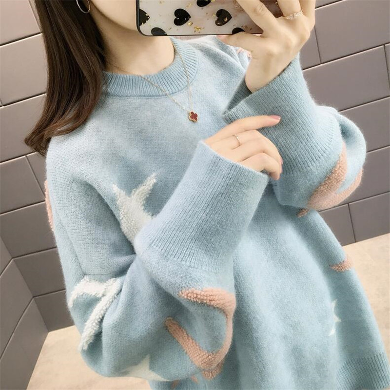 2019 Women Pullover Autumn And Winter New Sweater Female O Neck Loose Korean Student Sleeves Cute Bottoming Shirt Thick