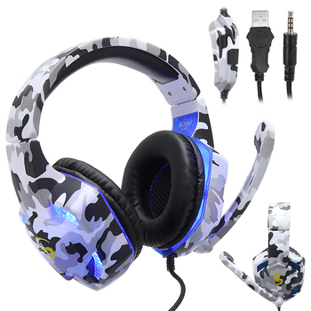 POHIKS 3.5mm Gaming Headset MIC LED Headphones Bass Stereo White Camouflage Design Earphone for PC Laptop PS4 Pro Xbox One S 360