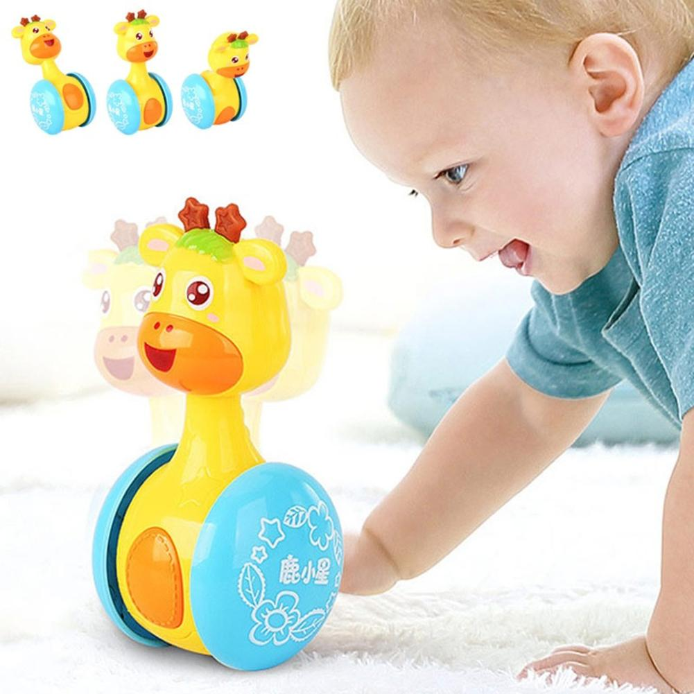 Baby Cute Cartoon Environmental Protection Printing Technology Deer Rattles Tumbler Doll Toy Bell Music Learning Educational Toy