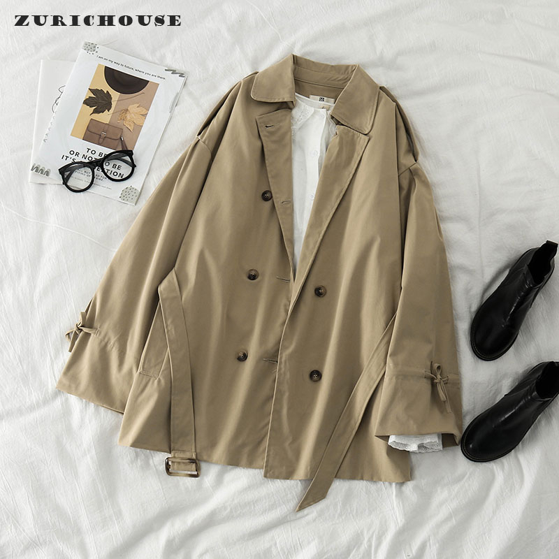 ZURICHOUSE Khaki Female Trench Fashion Spring Coat 2020 Loose Fit Retro Double-breasted Sashes Women's Windbreaker title=