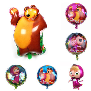 46*70CM Masha And Bear Birthday Party Foil Balloons 3D Baby Shower Party Kids Birthday Party Balloon DFlag Straw Party Supplies(China)