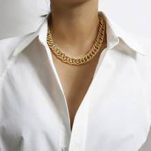 Punk Hip Hop Curb Cuban Link Chain Thick Short Choker Necklace Men Simple Minimalist Chunky Collar Necklace Women Jewelry Party sitaicery simple men twist oblate wide chain necklace party jewelry birthday gift new hip hop gothic fashion cuban link chain