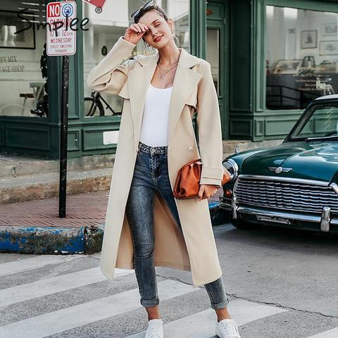 Simplee Wool blend winter tweed coat women Long sleeve elegant sash belt female outwear coat Autumn winter streetwear coat Lahore