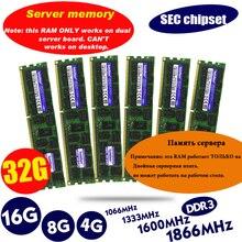 Memória do servidor 1333 1600 1866mhz dimm reg ram suporta x58 x79 placa mãe chipset ddr3 4gb 8gb 16gb 32gb ecc