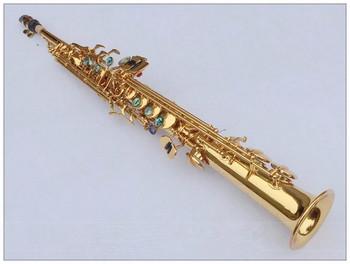 Soprano Saxophone Falling line BB wind instrument Saxophone copper gold lacquer Soprano Sax professional musical instrum tanie i dobre opinie Spada dostroić b (c) Bakelitu Mosiądz Złoty lakier