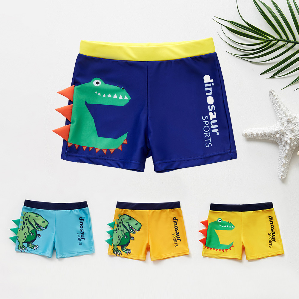 CHILDREN'S Swimming Trunks BOY'S Baby Bathing Suit Boxer Cartoon Dinosaur Big Boy Printed Swimming Trunks Wholesale