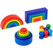 Wood Rainbow Blocks 3 set Natural Wooden Toys Children Rainbow Building Block Educational Kindergarten Supplies Baby Jenga Game