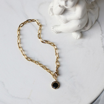 Amaiyllis 14K Gold Thick Chain Gold Bracelet Bangles Black Double-sided Epoxy Name Bracelets For Women Summer Jewellry Gift недорого