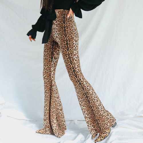 Women High Waist Long Pants Leopard Printed Wide Leg Trousers Female Elastic Waist Flare Pants Full Length Capris