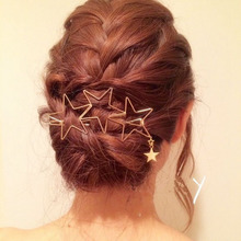 Fashion Popular Women Hair Clips Hollow Star Tassel Hairpin Pin Accessories