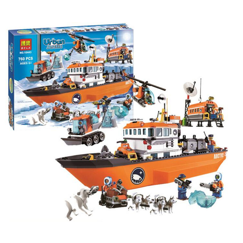 760pcs Arctic Icebreaker Wolf Sled Aircraft Adventure Assembled Model Building Blocks Toys DIY Toys Compatible Legoinglys City
