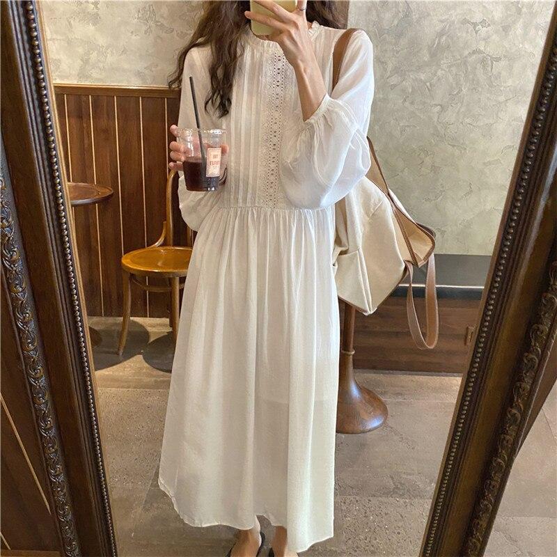 H74baed01cda949dda8df882435fbe81fv - Autumn O-Neck Lantern Sleeves Loose Lace Solid Dress