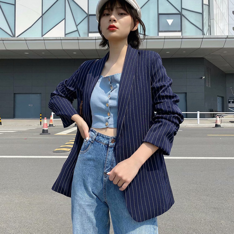 2020 Spring Autumn Sexy V-Neck Striped Blazers And Jackets Women Elegant Suit Coat Female Outwear Office Lady Blazer Feminino