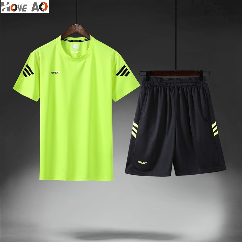 Gym Sports Set Men Casual Tight-Fit Quick Drying Clothes Outdoor Basketball Training Suit Ultra-stretch Short Sleeve Pants