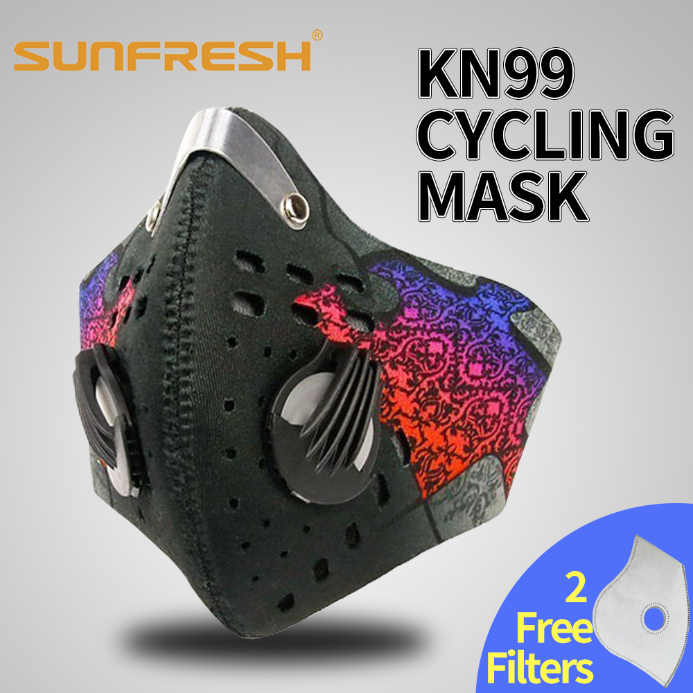 Respirator With 4 Carbon N99 Filters For Pollution Pollen Allergy Woodworking Running Washable Neoprene Half Face Mouth Mask