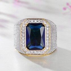 Мужское кольцо с натуральным сапфиром 14 к, кольцо с диоксидом циркония и бриллиантами, ювелирные украшения с драгоценными камнями