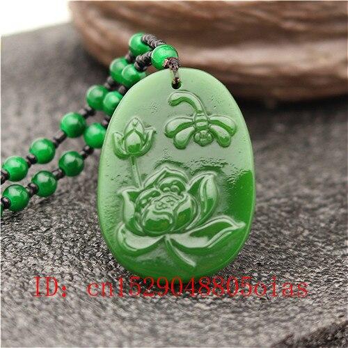 Natural Green Jade Lotus Amulet