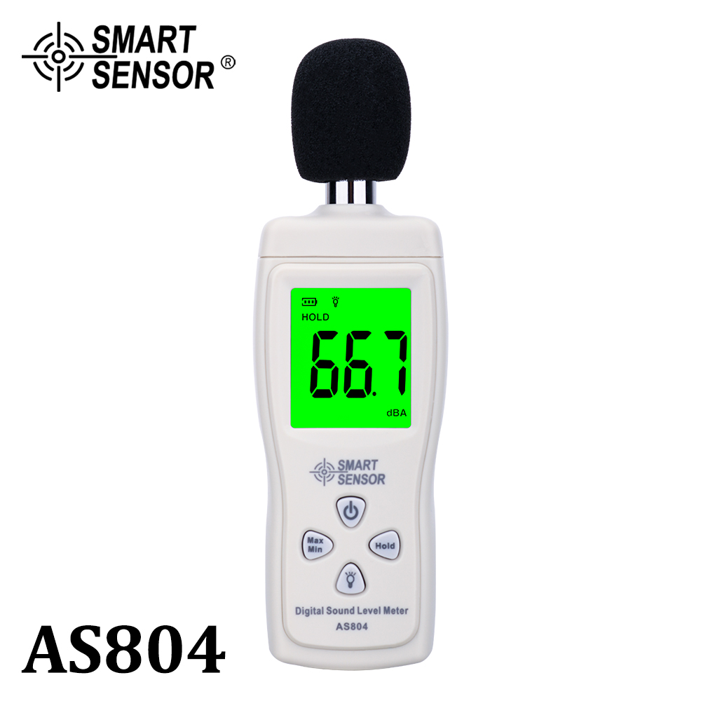 Fonometro digitale Misura 30-130 dB Rumore dB Decibel Tester di monitoraggio Metro Strumento diagnostico Smart Sensor AS804