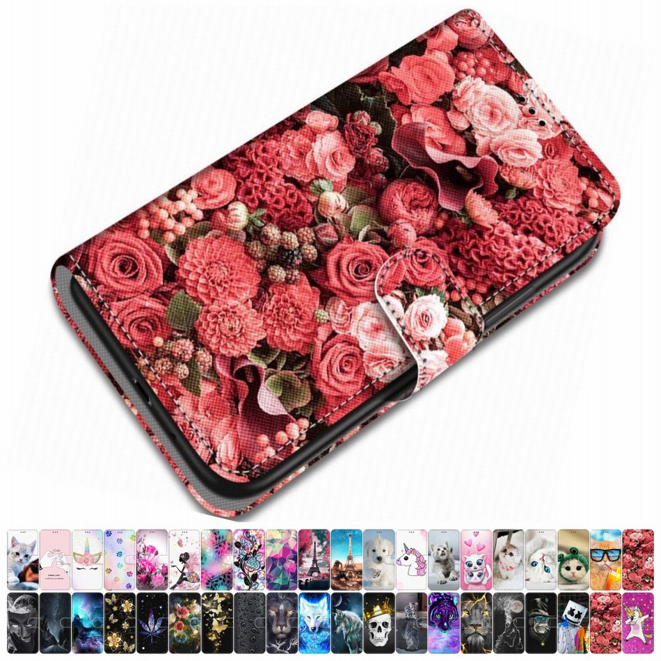 For <font><b>Case</b></font> Redmi <font><b>Note</b></font> 8 Pro Redmi <font><b>Note</b></font> <font><b>7</b></font> Pro Leather Phone Cover Animal Floral Dog Cat Tiger Lovely Girl Boy Magnetic Capa O08F image