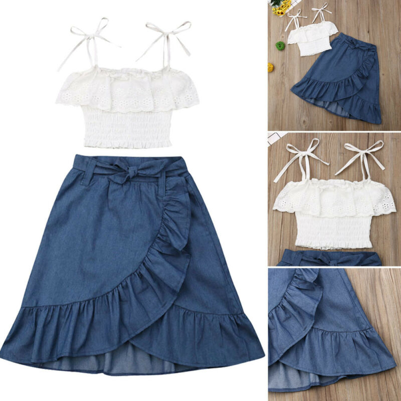 2PCS Kids Baby Girls Clothes Shirred Strappy Tops Midi Dress Skirts Outfits 2-7Y
