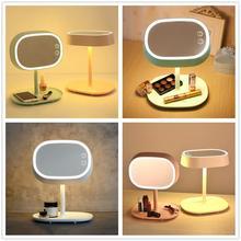 Tela sensível ao toque recarregável iluminado espelho de maquiagem led lâmpada cabeceira suporte de mesa espelho cosmético luz da noite