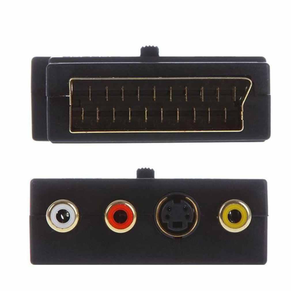 SCART адаптер AV блок на 3 RCA Phono Композитный S-Video с In/Out переключатель Scart К SVHS адаптер для видео DVD рекордер