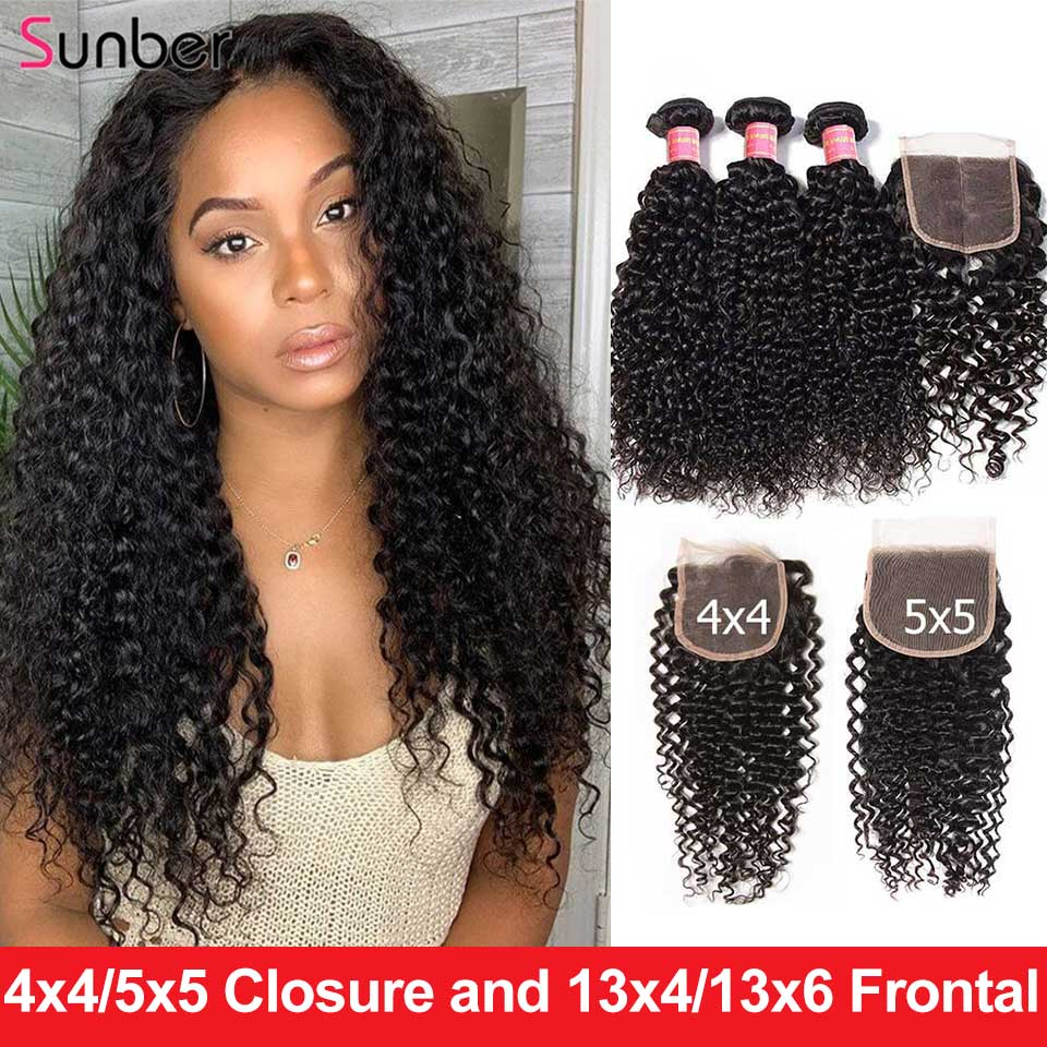 Sunber Brazilian Kinky Curly Hair Bundles With Closure Hair 4x4 /5x5/13x4/6 Closure High Ratio Remy Hair Bundles With Frontal