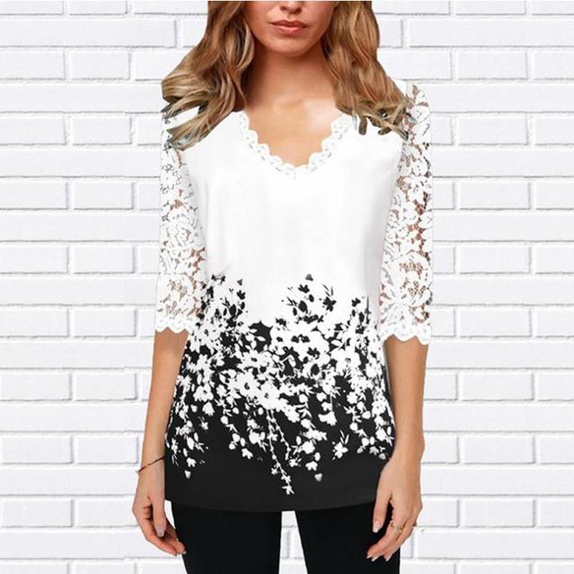 Plus Size 4xl 5XL Shirt Blouse Female 2020 Spring Summer New Tops V-neck Half Sleeve Lace Splice Print Boho Women shirt 4