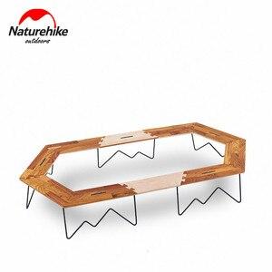 Image 2 - Naturehike mesa de Camping con Panel de madera y soporte de hierro, mesa de acampada Hexagonal, fácil montaje, pícnic familiar al aire libre, barbacoa de viaje, 2019