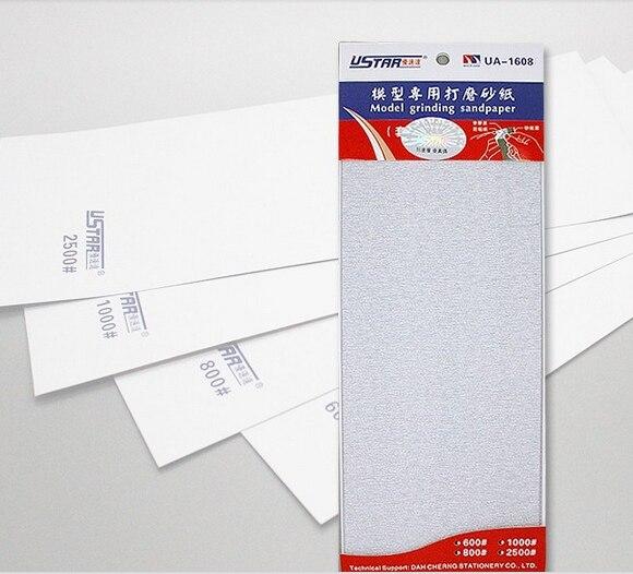 U-STAR UA-1608 Self-Adhesive Sandpaper Sheets (4pcs: 600#, 800#, 1000#, 2500#,)