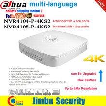 Dahua nvr gravador de vídeo em rede 4k poe porto NVR4104 P 4KS2 4ch NVR4108 P 4KS2 8ch inteligente mini 1u até 8mp câmera ip dvr