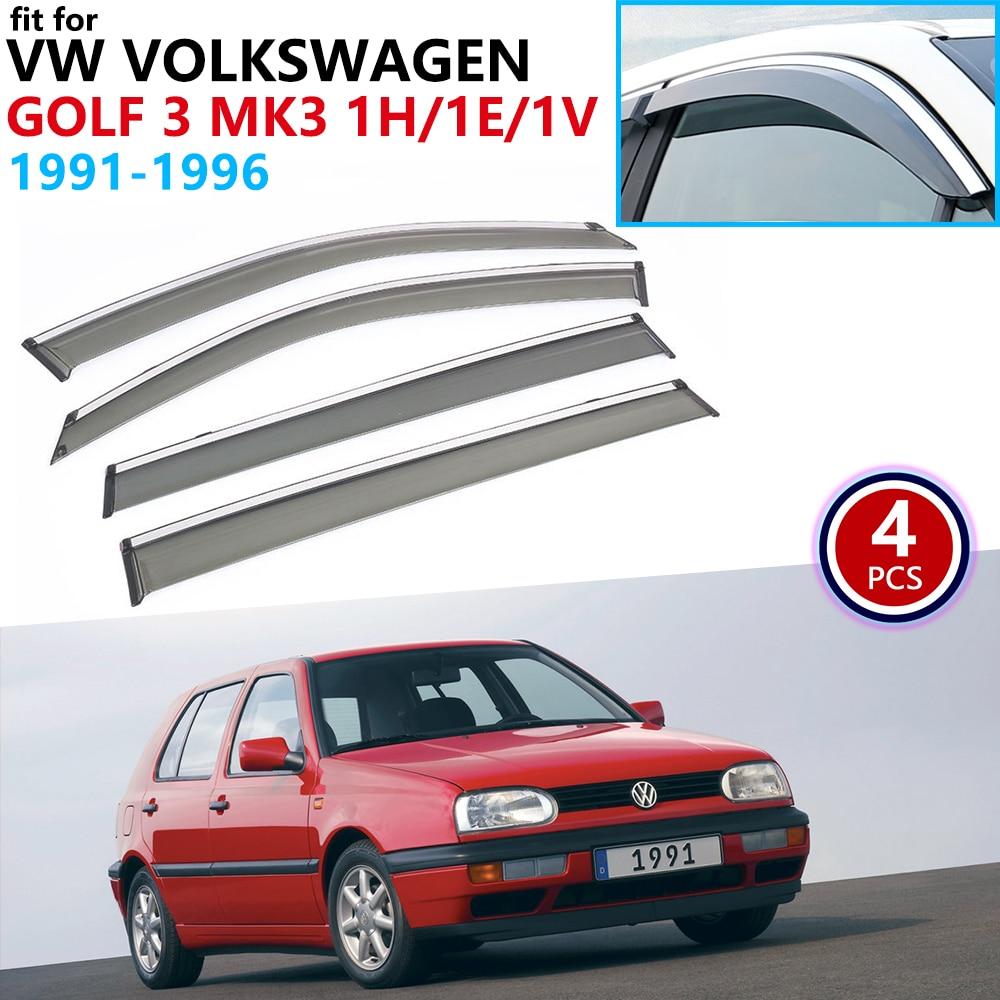 For VW Volkswagen Golf 3 MK3 1H 1E 1V 1991~1996 Window Visor Vent Awnings Rain Guard Deflector Accessories 1992 1993 1994 1995