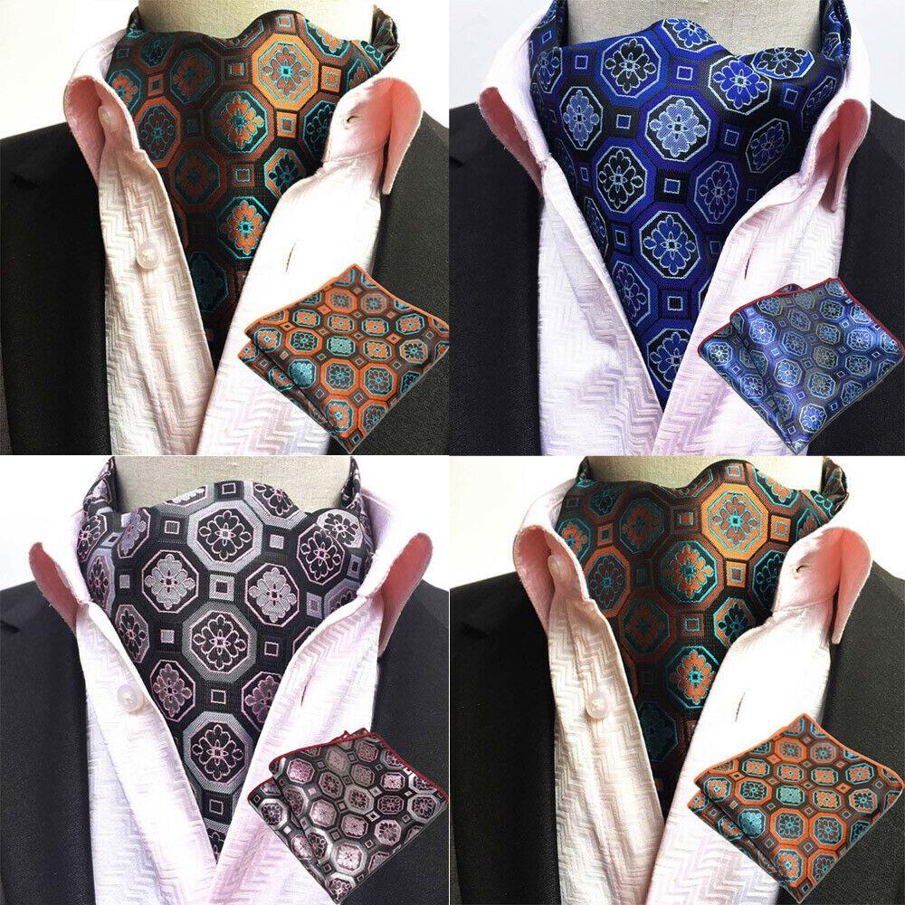 Mens Cravat Handkerchief Geometric Floral Ascot Scarves Pocket Square Set