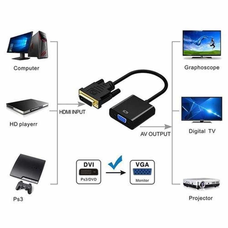 Full HD 1080P DVI-D untuk Adaptor Vga 24 + 1 25Pin Pria untuk 15Pin Perempuan Kabel Converter untuk PC komputer HDTV Monitor Display D8