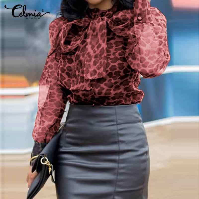Celmia Vrouwen Luipaard Print Blouse Lange Mouw Strik Chiffon Shirts Sexy See Through Mesh Tops Casual Losse Vrouwelijke Blusas s-5XL