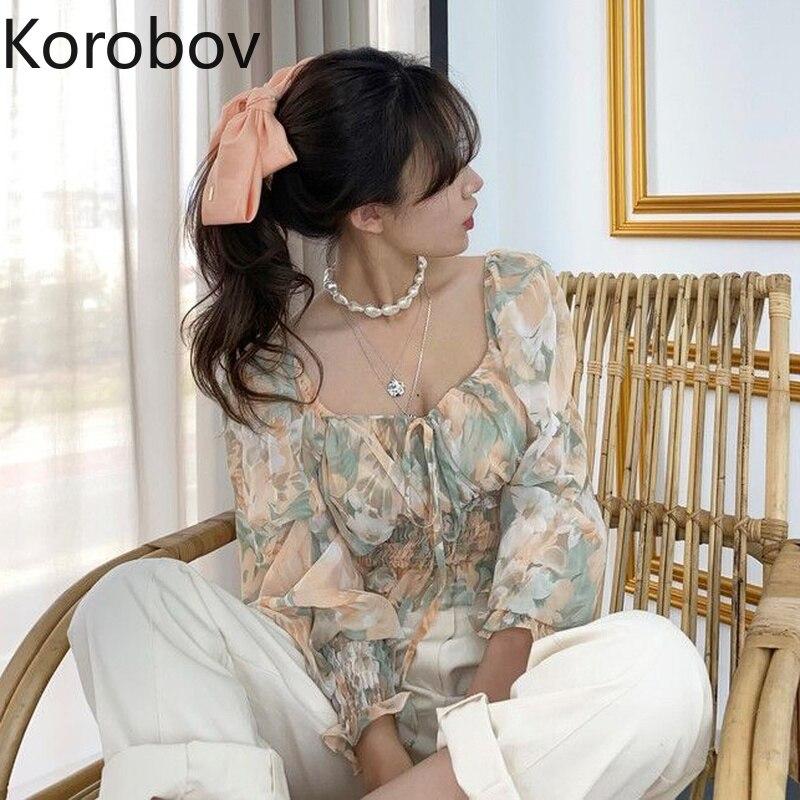 Korobov Летние Элегантные женские блузки с квадратным воротником, винтажные корейские рубашки с пышными рукавами для женщин 2020, НОВЫЕ шикарные...