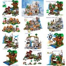 Blocos de construção para o meu mundo a montanha caverna elevador mina aldeia cachoeira modelo conjunto com figuras tijolo diy brinquedos