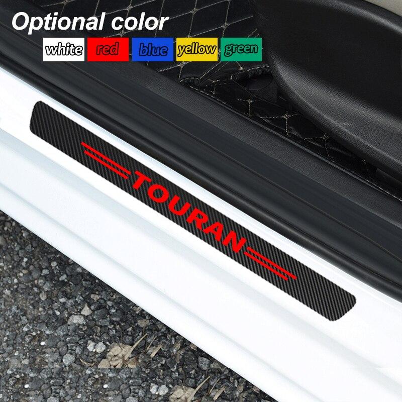 4 pièces en Fiber de carbone seuil de porte de voiture autocollant anti-rayures pour Volkswagen VW Touran 2004 2005 2007 2008 2016 2017 accessoires